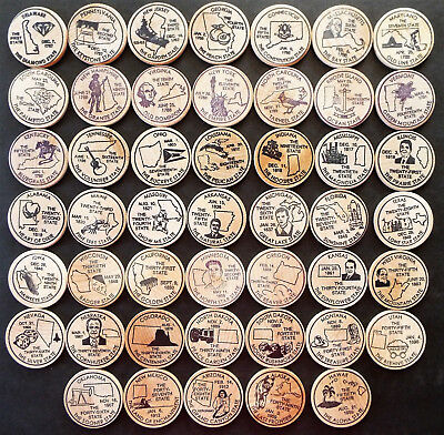 47 Us States Wooden Nickle Collection