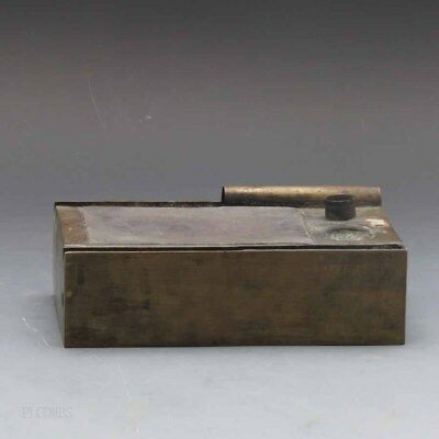 Chinese 19th.c Brass Bound Duane Stone Inset Ink Box Scholars Object