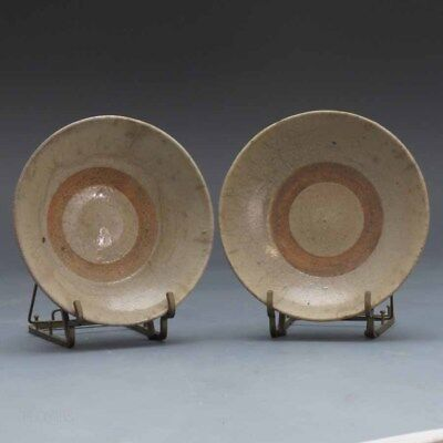 18th.c-19th.c Chinese Pair Of Crackle Glazed Provisional Plates, Dragon