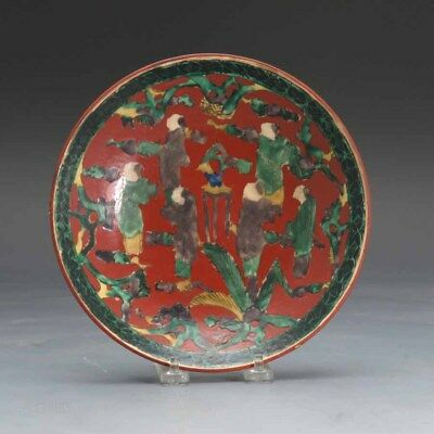 19th.c Japanese Kutani Crackle Glaze Scholar Plate