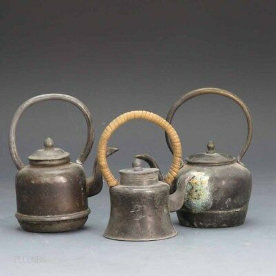 19th-20th.c Chinese Lot Of 3 Brass Teapot's Marked