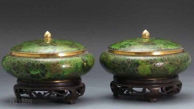 20th.c Chinese Pair Of Cloisonne Covered Bowls With Stands, Flowers