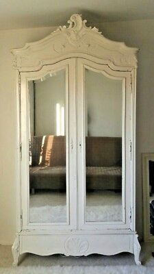 French Antique Louis XV Walnut White 2 Door Mirrored Armoire Bottom Drawer