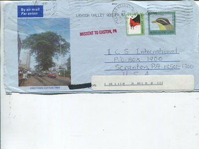 Sierra Leone aerogramme FRONT to USA 1996, single line Missent to Easton PA