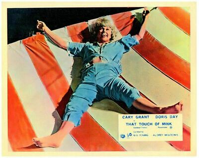 THAT TOUCH OF MINK Original Lobby Card  Doris Day legs spread on sheet 1962