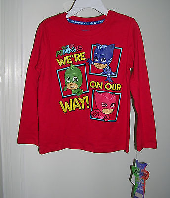"JUST IN -  ""PJ MASKS"" Adorable  LONG SLEEVE BOY'S RED T-SHIRT SIZE 2T  NWT #2B"