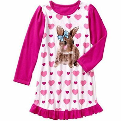 Girls Bunny and Hearts Sleep Gown Nightgown Sleepwear Pajamas, Size L 10-12