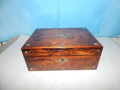 Antique 19th Century  Mother Of Pearl Inlaid Wood Box.