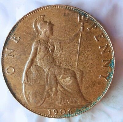 1906 GREAT BRITAIN PENNY - AU RED -  Great Vintage Coin - LOT #713