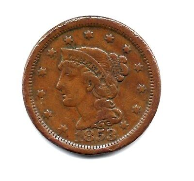 1853 -  Braided Hair Large Cent Exact Coin Pictured