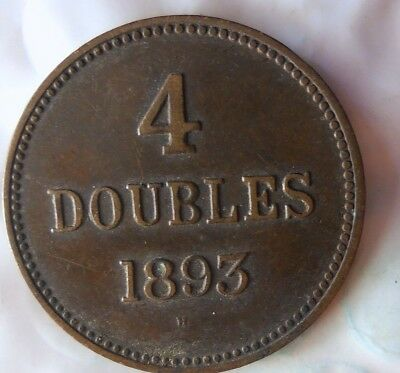 1893 GUERNSEY 4 DOUBLES - Low Mintage AU - High Quality Scarce Coin - Lot #713