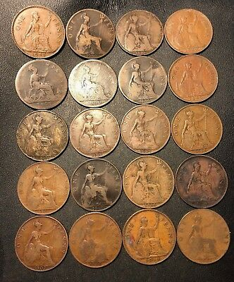 Vintage Great Britain Coin Lot - 20 LARGE Pennies - 1890-1944 - Lot #713
