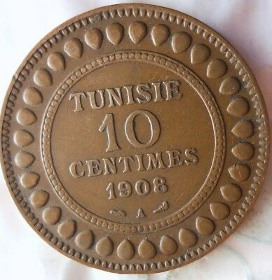 1908 TUNISIA 10 CENTIMES - HARD TO FIND TYPE - Awesome Islamic Coin - Lot #713