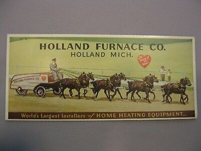 Early Holland Furnace Co, Holland Kansas KS Ink Blotter Horse Horses