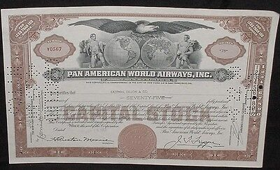 Pan American World Airways Less Than 100 Shares Capital Stock Certificate 1950's