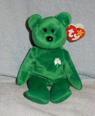 Ty Beanie Baby 1997 St Patrick's Day Erin Green Bear Toy Retired w Tag