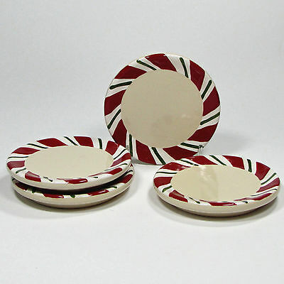 Longaberger Peppermint Twist Candy Cane Stoneware Drink Coaster Set of Four (4)