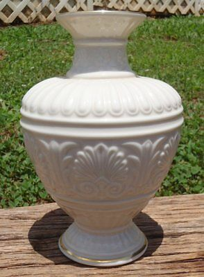 "Beautiful Lenox ATHENIAN COLLECTION Porcelain 8"" Footed Vase w/Gold Original Tag"