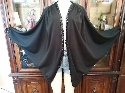 VTG 80s Black OVERSIZED Batwing sleeves CAPE scalloped sequins Cocoon Jacket S