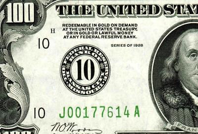 $100 1928 :::: Kansas City ::::  Federal Reserve Note ** MORE CURRENCY FOR SALE