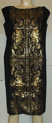 Black Gold Ethnic Dress Costume Sleeveless Indian Middle Eastern L