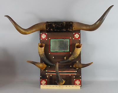 Antique Early 20thC American Western Longhorn Hall Tree Mirror Wall Hanging NR
