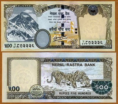 Nepal, 500 Rupees, 2012, Pick 68-New, UNC > Tigers, Everest, Rastra Bank