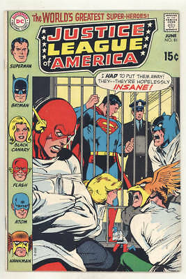 June 1970 JUSTICE LEAGUE OF AMERICA #81. They go crazy! FINE