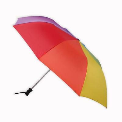 Totes Automatic Over sized Folding Umbrella Extra Large Canopy Rainbow Colored