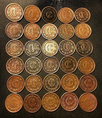 Old Mexico Coin Lot - 1902-1948 - 30 Older Type Centavo Coins - Lot #714