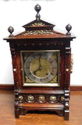 oak & brass cased lenzkirch ting tang bracket clock c1900s