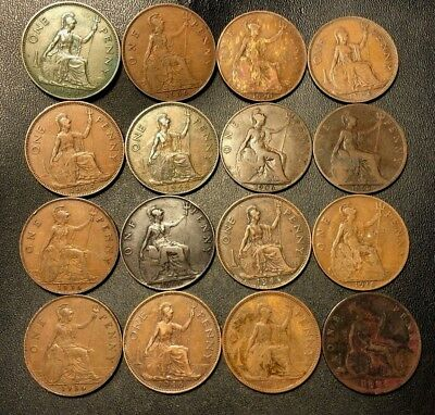 Vintage Great Britain Coin Lot - 16 LARGE Pennies - 1884-1948 - Lot #714