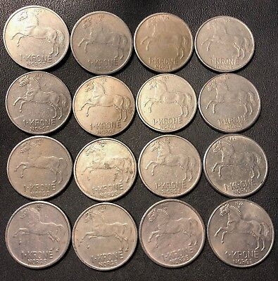 Vintage Norway Coin Lot - KRONE - HORSE SERIES - 16 Great Coins - Lot #714