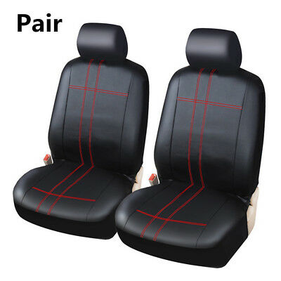 Classic PU Leather 2Pcs Car Front Seat Covers Protector Cushion For Four Seasons