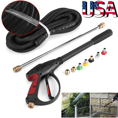 4000 PSI High Pressure Cleaner Washer Spray Gun W/ 5 Nozzles+2 Hose Adapters US