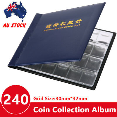 240 Coin Holder Collection Storage Collecting Money Penny Pockets Album Book AU