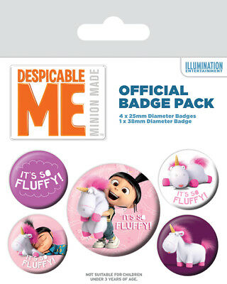 Button Badge 5er Pack DESPICABLE ME - Agnes - So Fluffy  1x38mm & 4x25mm BP80533