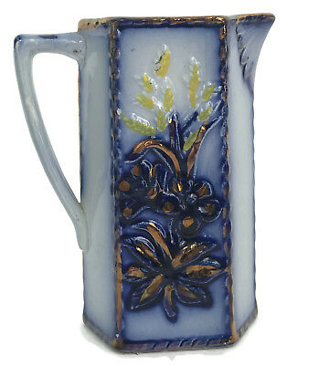 """Antique Victorian Flow Blue Gaudy Copper Luster Floral Pitcher Enamel As Is 6"""""""