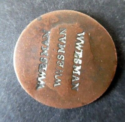 1700s Counterstamp WWESMAN Countermarked British Or Colonial US ? Coin