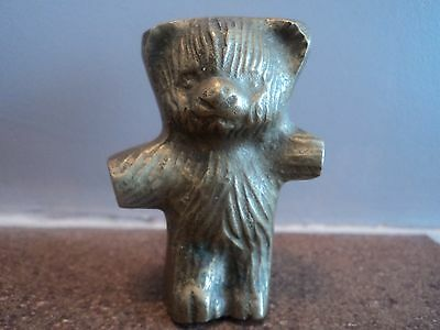 Vintage Solid Small Brass Cast Teddy Bear Desk Top Display/paperweight-Gorgeous.
