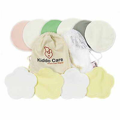 Washable Organic Bamboo Nursing Pads -10 Pack Colored 5 Pairs - Reusable Breast