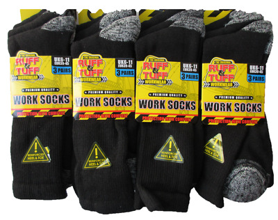 6-12 Pairs Mens Black Thermal Socks,Thick Warm Work Boot Socks Size 6-11 0.3 TOG