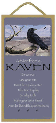 ADVICE FROM A RAVEN wood INSPIRATIONAL SIGN wall NOVELTY PLAQUE Wild Bird Crow