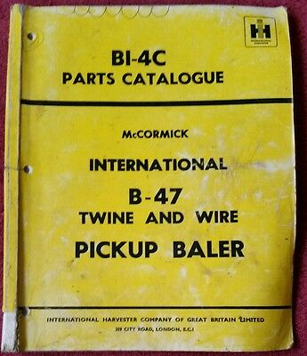 McCORMICK INTERNATIONAL B47 BALER PARTS CATALOGUE
