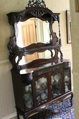 Large Victorian or Edwardian China Cabinet with Mirror and Display Shelf