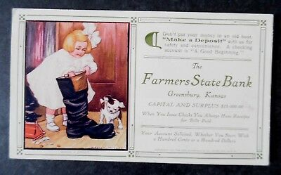 ca1910 Greensburg Kansas Farmers State Bank Advertising Ink Blotter