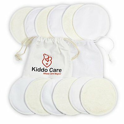 Washable Organic Bamboo Nursing Pads -12 Pack White 6 Pairs - Reusable Breast Pa
