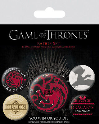 Button Badge 5er Pack GAME OF THRONES - Fire & Blood -1x 38mm & 4x 25mm BP80529