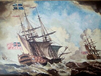 Fine early 19thc maritime on panel ships on high seas ANTIQUE OIL PAINTING 1of2