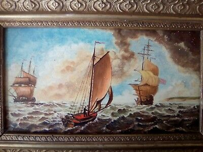 19thc on panel coastal scene, ships, boats, figures, ANTIQUE OIL PAINTING 2 OF 2